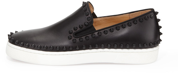 Christian Louboutin Studded Calfskin Slip-on Sneaker, Black