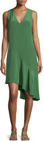 Tibi Sleeveless Silk Shift Dress, Vine Green