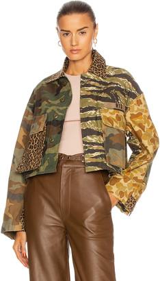 R 13 Abu Cropped Jacket in Multi Camo | FWRD
