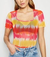 Thumbnail for your product : New Look Pink Vanilla Tie Dye Mesh Bodysuit