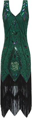 Metme Women's 1920s Flapper Fringe Beaded Great Gatsby Party Dress
