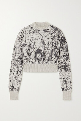 Twenty Montreal Pollock Hyper Reality Cropped Intarsia Cotton-blend Sweatshirt - Gray