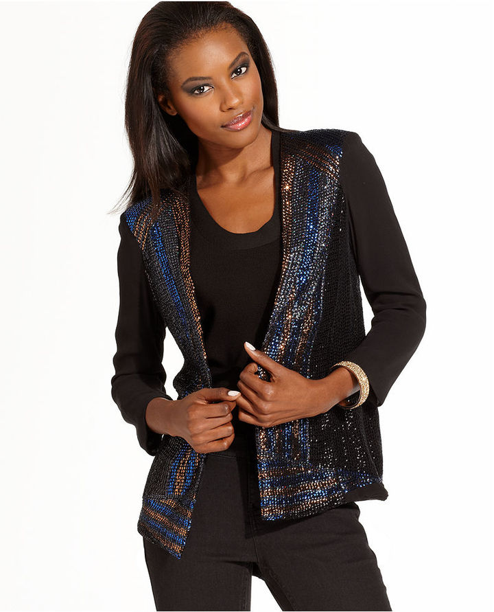 French Connection Jacket, Three-Quarter Sleeve Sequined Blazer