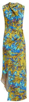 Raey Cowl Neck Asymmetric Uv Floral Print Silk Dress - Womens - Blue Print