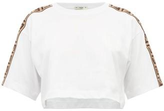 Fendi Cropped Logo-print Cotton T-shirt - Womens - White