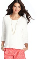 LOFT Cotton Uneven Hem Sweater