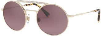 Miu Miu Round Mirrored Metal Sunglasses