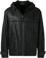 Prada hooded leather coat with shearling