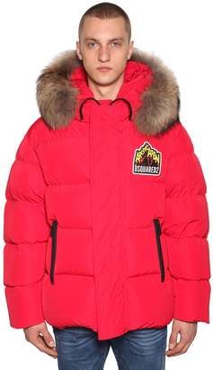 DSQUARED2 Logo Patch Down Jacket W/ Fur Hood
