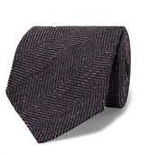 Dunhill 8cm Herringbone Slub Mulberry Silk and Wool-Blend Tie