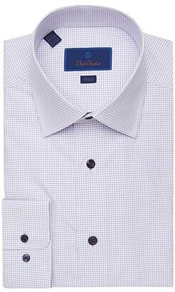 David Donahue Trim Fit Mini Check Dress Shirt (White/Lilac) Men's Clothing