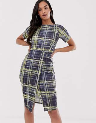 Closet London Closet jersey wrap skirt dress-Navy