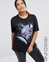 Asos T-Shirt with Retro Space Scape and Gem Detail