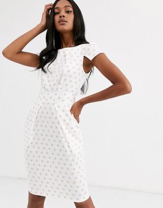 Closet London Closet capped sleeve polka dot dress-White