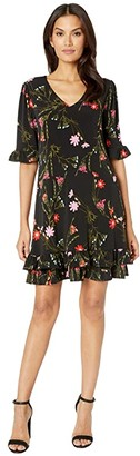 CeCe Ruffle Sleeve Enchanted Wildflower Knit Dress (Rich Black) Women's Dress