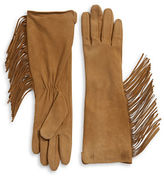 Lauren Ralph Lauren Long Fringe Trim Suede Gloves