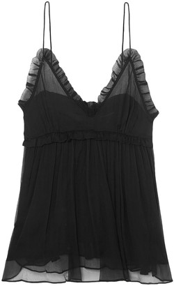 Lee Mathews Nina Ruffle-trimmed Crinkled Silk-chiffon Camisole
