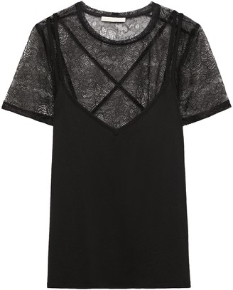 Maje Tony Cotton And Modal-blend Lace And Stretch-jersey T-shirt