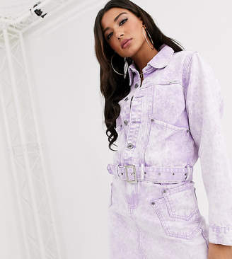 N. Liquor Poker belted denim jacket suit in acid wash co-ord-Pink