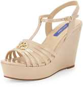 Dee Keller Skyler Patent Leather T-Strap Wedge Sandal, Nude