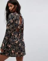 PrettyLittleThing Open Back Floral Mini Dress
