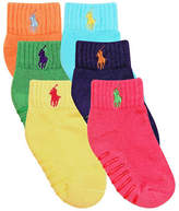 Ralph Lauren 6-Pair Pack Athletic Quarter Socks with Grippers