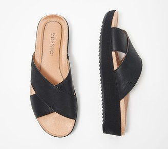 Vionic Leather Platform Slide Sandals - Hayden