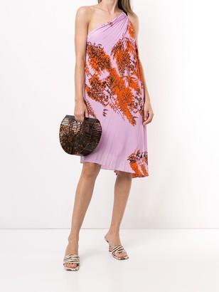 Pre-Owned Leaf Print Pleated Dress