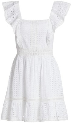 Alice + Olivia Remada Eyelet Cotton Ruffle Dress