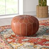 Mistana Carolos Leather Pouf Mistana Fabric: Brown