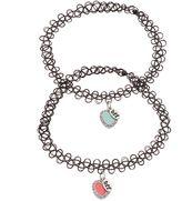 """Mudd BFF"""" Heart Charm Tattoo Choker Necklace Set"""