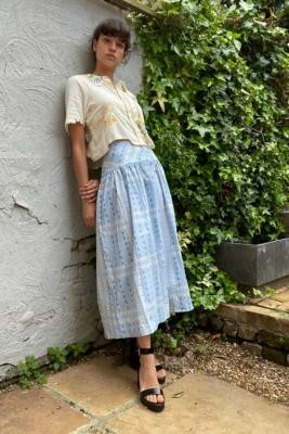Urban Outfitters Edith Midi Skirt - Blue XS at