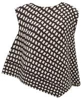 Pleats Please Issey Miyake Check-print Asymmetric Technical Pleated Top - Womens - Black White