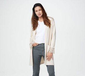 Susan Graver Rayon Nylon Sweater Cardigan with Lace Cuffs