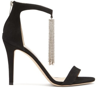 Jimmy Choo Viola 100 Crystal-tassel Satin Sandals - Black