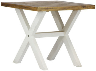 Lux Home Highland Distressed White Solid Reclaimed Wood End Table