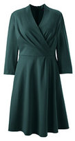 Classic Women's Plus Size 3/4 Sleeve Ponté Surplice Dress-Harvest Pine