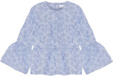 Co Tiered Striped Cloqué Top - Light blue