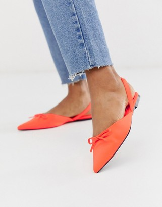 Asos Design DESIGN Lefty pointed ballet flats in neon orange