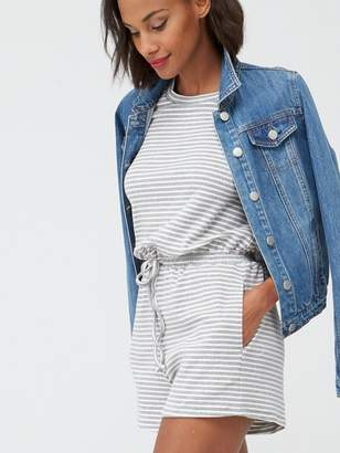 Very Jersey Channel Waist Short Sleeve Playsuit - Stripe