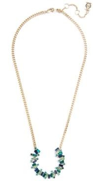 """Zenzii Gold-Tone Multi-Crystal Horseshoe Pendant Necklace, 16"""" + 2"""" extender"""