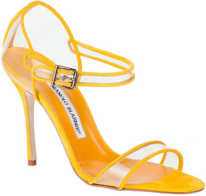 Manolo Blahnik Fersen yellow suede sandal