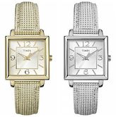Timex Women's Classic Dress Watch | Square Case Metallic Leather Strap