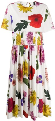 Sara Lanzi Floral-Print Midi Dress