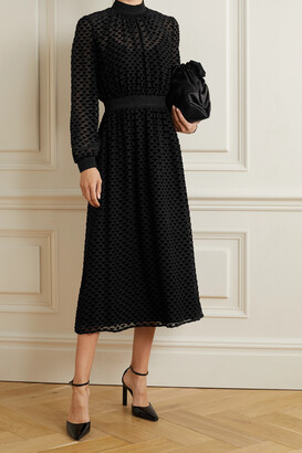 TORY BURCH - Metallic Stretch Jersey-trimmed Devore-velvet Midi Dress - Black