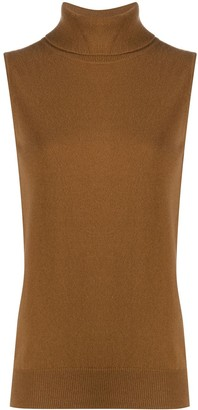 N.Peal Sleeveless Roll Neck Cashmere Sweater