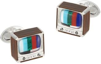 Jan Leslie Sterling Silver, Wood & Multi-Stone TV Box Cufflinks