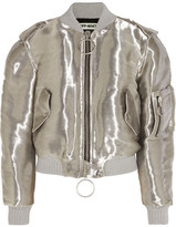 Off-White Metallic Taffeta Bomber Jacket - Silver
