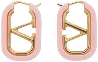 Valentino Gold and Pink Garavani VLogo Hoop Earrings
