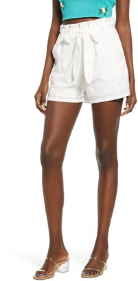 4SI3NNA the Label Blaire Cotton Eyelet Tie Waist Shorts